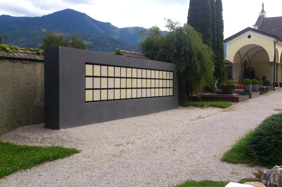 Urnenwand Kolumbarium K2 Friedhof Zell am See Urnenwandmanufaktur Neher+Partner